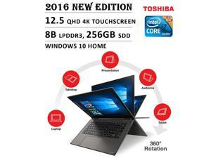 "2016 Newest Toshiba Radius Flagship Premium High Performance 12.5"" 4K 3840 x 2160 UHD Touch-screen Flip Convertible Laptop, Intel Core i7 Processor 2.5 GHz, 8GB Memory, 256GB SSD, No DVD, Windows 10"