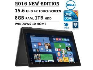 """2016 Newest DELL Inspiron 2-in-1 Flagship Premium High Performance 15.6"""" 4K 3840 x 2160 UHD Touch-screen Flip Convertible Laptop, Intel Core i7 Processor 2.5 GHz, 8GB Memory, 1TB HDD, Windows 10"""