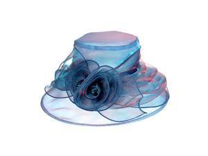 Womens lady Wedding Party Organza Derby Hat Blue