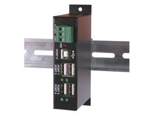 4 Port Industrial High-Speed USB 2.0 Powered Hub for PC/Mac with DIN Rail Mount