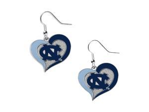 UNC University of North Carolina Tar Heels Swirl Heart Dangle Logo Earring Set Charm Gift NCAA