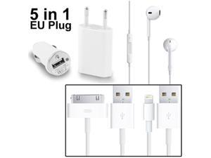 5 in 1 (EU Plug Travel Charger Adapter + Car USB Charger + EarPods + Charger Sync Cable x 2pcs) Combo Kit for iPhone 5, iPhone 4 & 4S, 3GS / 3G, iPod touch 5