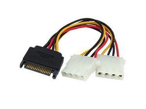15 Pin to 2 x 4 Pin SATA Power Molex Power Y-Cable, Length: 15.2cm