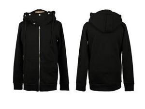 Men Fashion Zipper Long Sleeve Cotton Slim Hooded Sweatshirt