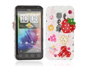 Hard Plastic Case for HTC EVO 3D Strawberry Pattern