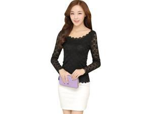 Korean Style Thin Slim Fit Long Sleeve Lace Women Bottoming T-shirt Black S