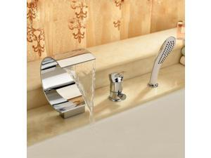 3-in-1 Detachable Waterfall Bathtub Bathroom Sink Faucet Silver