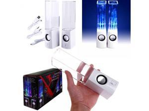 RC-S01 LED Light Dancing Water Speaker Creative Music Box USB for PC Laptop MP3 MP4 Cell Phone White