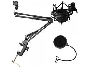Professional Recording Microphone Stand Black with Pop Screen Filter and Shock Mount
