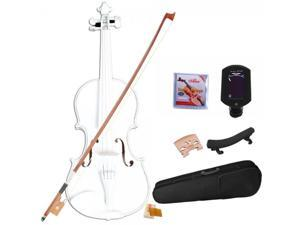4/4 Full White Acoustic Student Violin Outfit with Shoulder Rest Extra Strings Bridge Tuner Free