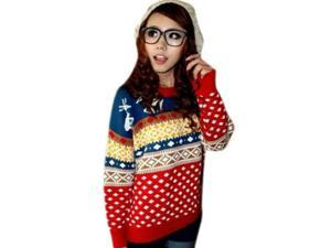 Korean Style Colored Deer & Rhombic Checks Pattern Women's Pullover Woolen Sweater Red Free Size