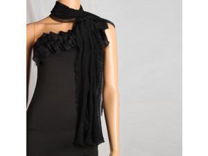 Fashion Lady Oblong Pure Color Chiffon Silk Scarf Black