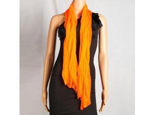 Fashion Lady Oblong Pure Color Chiffon Silk Scarf Orange Yellow