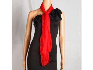 Fashion Lady Oblong Pure Color Chiffon Silk Scarf Red