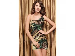 Art Fashion Sexy Dress One Shoulder Green feather Dress One Size Green