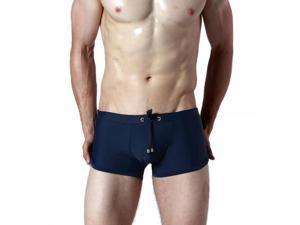 SEOBEAN Erogenous U Type Raised Front Men's Swimming Trunks Dark Blue L