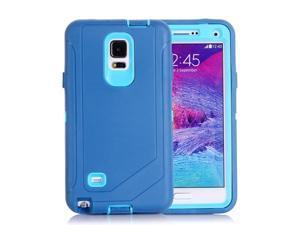 Hybrid TPU Bumper PC Combination Case for Samsung Galaxy Note 4 (Light Blue)
