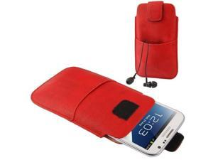 Universal Leather Case Pocket Sleeve Bag with Earphone Pocket for Samsung Galaxy Note II / N7100 / i9220  (Red)