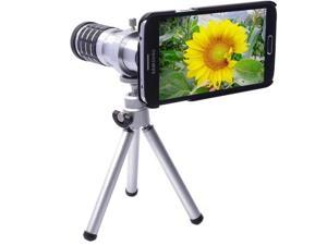 12X Metal Aluminum Magnifier Micro Telephoto Telescope Camera Lens With Tripod for Samsung Galaxy S5 / G900 (Silver)