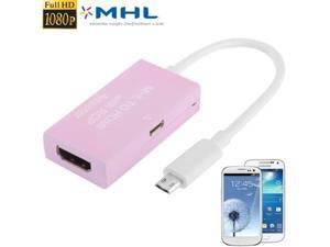 Full HD 1080P Micro USB MHL to HDMI with RCP Adapter for Samsung Galaxy S4 / i9500 / S2I / i9300 / Note 2  (Pink)