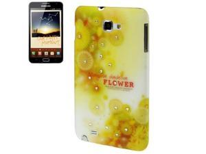 Flowers Pattern Diamond Encrusted Plastic Protection Case for Samsung Galaxy Note / i9220 / N7000, Note LTE / N7005