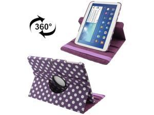 360 Degree Rotation Purple and White Dot Pattern Leather Case with Holder for Samsung Galaxy Tab 3  (10.1) / P5200 / P5210 (Purple)