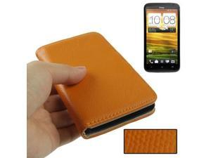 Litchi Texture Flip Wallet Holster Leather Case for HTC One X / Edge / S720e (Orange)