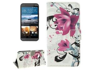 Lotus Pattern Flip Leather Case with Holder & Card Slots & Wallet for HTC One M9