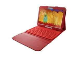 Bluetooth 3.0 Keyboard Leather Protective Case with Holder for Samsung Galaxy Note 10.1 2014 Edition P600 (Red)