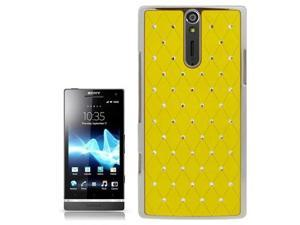 Luxury Bling Diamond Encrusted Plastic Case for Sony Xperia S / LT26i / Xperia Arc HD  (Yellow)