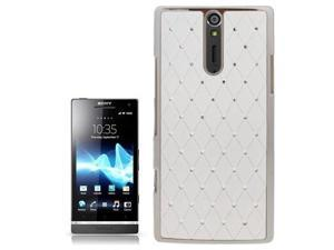 Luxury Bling Diamond Encrusted Plastic Case for Sony Xperia S / LT26i / Xperia Arc HD  (White)