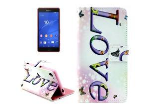 LOVE Pattern Horizontal Flip Leather Case with Card Slots & Wallet & Holder for Sony Xperia Z3