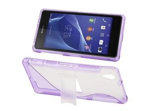 S Line Translucent Frosted Plastic + Anti-skid TPU Case with Holder for Sony Xperia Z2 / L50w  (Purple)