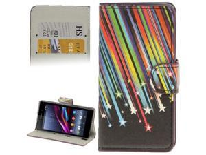 Colorful Meteor Pattern Leather Case with Credit Card Slots & Holder for Sony Xperia Z1 mini