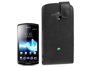 Pure Color Vertical Flip Soft Leather Case for Sony MT25i Xperia neo L  (Black)