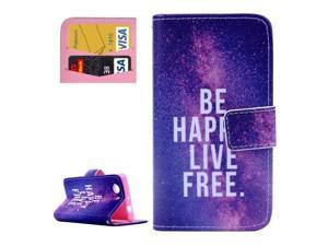 BE HAPPY LIVE FREE Pattern Horizontal Flip Leather Case with Card Slots & Wallet & Holder for Sony Xperia Z3 Compact / Z3 mini