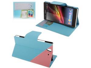 2-color Gravel Texture Leather Case with Holder & Credit Card Slots for Sony Xperia Z / L36H    (Baby Blue)