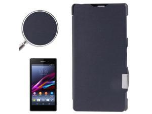 Brushed Texture Horizontal Flip Magnetic Buckle Leather Protective Case for Sony Xperia Z1 / L39h  (Navy Blue)