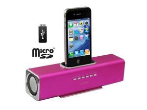 Aluminum Straight Speaker for iPhone 4 & 4S, iPhone 3GS/3G, iPhone, Support USB Flash Disk, Micro SD Card (Magenta)