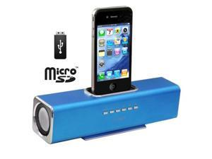 Aluminum Straight Speaker for iPhone 4 & 4S, iPhone 3GS/3G, iPhone, Support USB Flash Disk, Micro SD Card (Blue)
