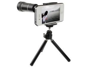 10X Optical Zoom Telescope Lens with Tripod + Cell Case for iPhone 4 & 4S (Black)