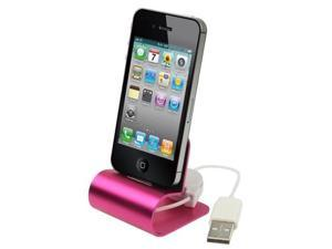 Retractable USB Cable Aluminum Alloy Dock Charger for iPhone 4 & 4S / 3GS / 3G  (Magenta)