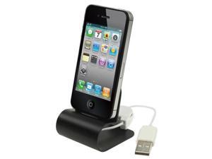Retractable USB Cable Aluminum Alloy Dock Charger for iPhone 4 & 4S / 3GS / 3G  (Black)