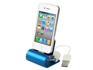 Retractable USB Cable Aluminum Alloy Dock Charger for iPhone 4 & 4S / 3GS / 3G  (Blue)