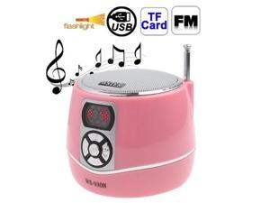 Portable Multi-function Speaker with LCD Screen Display / LED Flashlight, Support FM Radio / TF Card & U Disk Reader, Built in Rechargeable Li-ion Battery  (Pink)