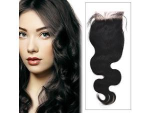 24 inch Nature Color Body Wave Brazilian Lace Closure 4 x 4 inch Handmade Human Hair