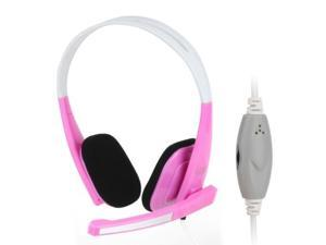 Universal Stereo Headset with Mic for Computer, Cable Length: 1.5m (Magenta)