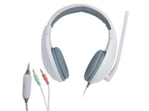 LUPUSS Universal Stereo Headset with Mic and Volume Control for Computer, Cable Length: about 2m  (White + Grey)