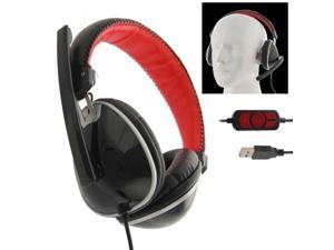 Universal USB Plug Stereo Headset with Mic for Computer, Cable Length: 2m  (Black + Red)