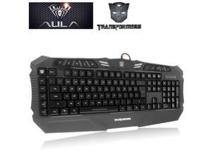 Aula Transformers Series Optimus Prime Pattern Wired USB Multi-media Silent / Non-slip Game Keyboard with Colorful Backlight